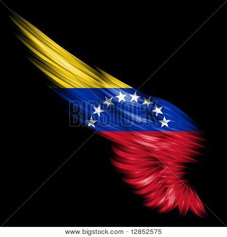 Abstract Wing With Venezuela Flag On Black Background