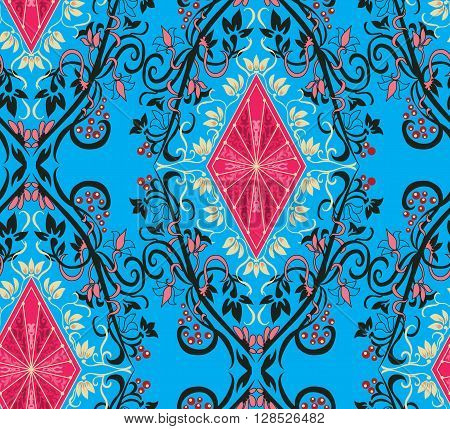 Seamless pattern vintage style. Vector background. Floral  design