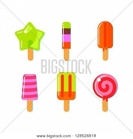 Set of fruit ice cream bar in flat style. Bright vector  illustration.