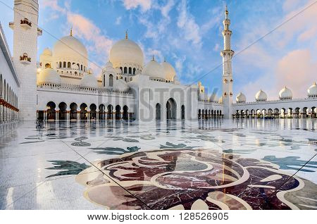 Abu Dhabi, UAE- March 2, 2016:Sheikh Zayed Grand Mosque in Abu Dhabi UAE