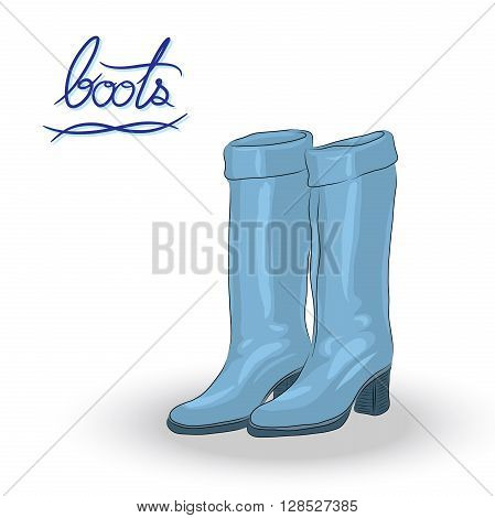 Blue boots fashion boots cartoon vector for decoration in hand-drawn style