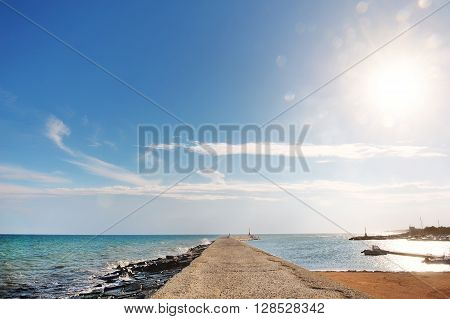 sea and sky in a summer day in the port of Ostuni Apulia southern Italy