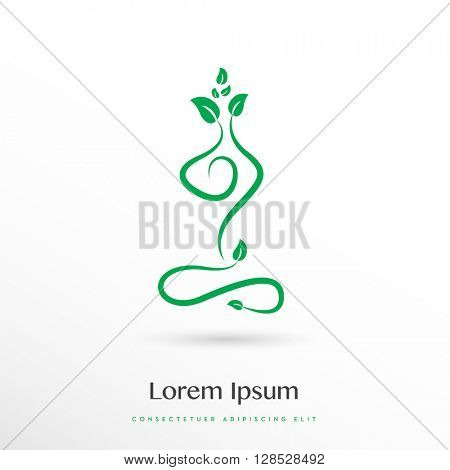 BEAUTIFUL GREEN ELEGANT SILHOUETTE IN YOGA POSITION , VECTOR LOGO / ICON