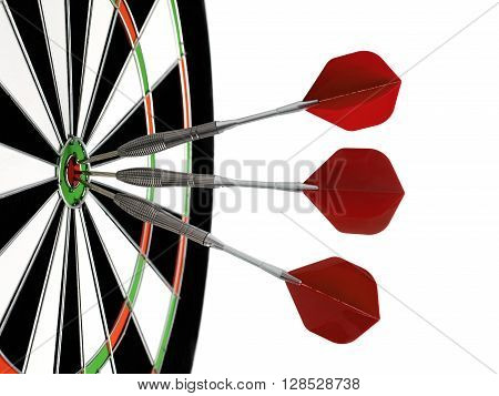 Dartboard with darts isolated on a white background