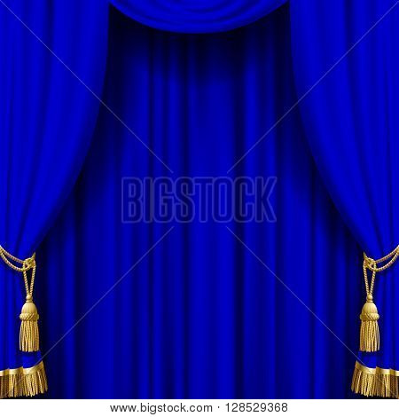 Blue curtain with gold tassels. Artistic poster and background