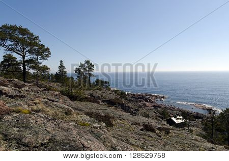 High Coast in Sweden a part of the Gulf of Bothnia characterized by its steep granite cliffs and stony islands rising from the sea picture from the North of Sweden.