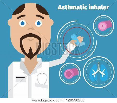 Doctor showing an asthma inhaler. Asthma Medical poster.