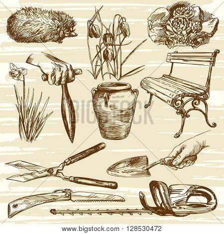 Gardening tools. Planting Flowers. Hand drawn vector illustration.