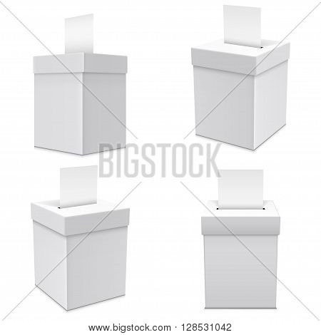 Cardboard White Ballot Box with Copy Space Isolated on White Background.