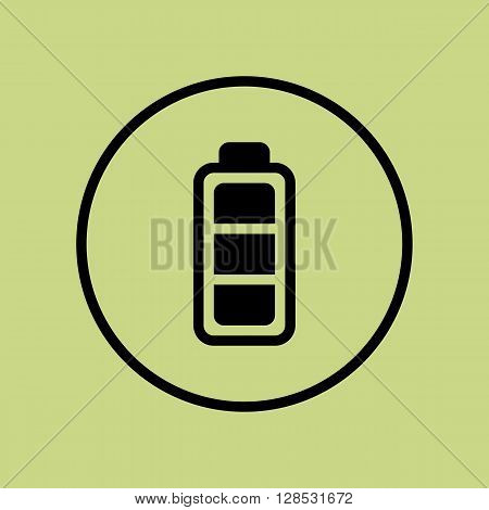 Battery Icon In Vector Format. Premium Quality Battery Symbol. Web Graphic Battery Sign On Green Cir