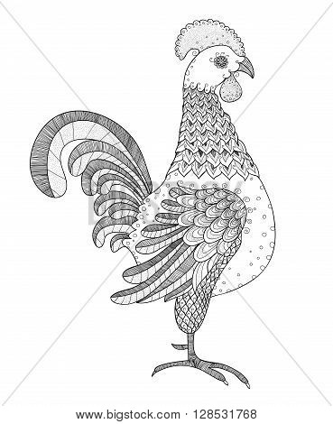 Black and white Rooster graphic. Outline Rooster. Linear Rooster design element. Flourish Rooster pattern.