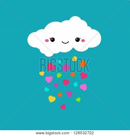 Abstract cute cartoon vector rainy cloud. Raindrops of colorful hearts. Funny illustration. Kids decorative background. Cute cloud design for children. Blue sky and rainbow color hearts decoration