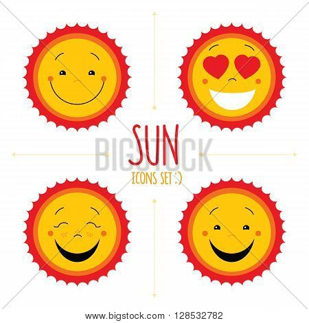 Baby cute vector sun icon set. Cute baby smile sun logos collection. Smiley icon art logo designs. Sun vector with arrows. Sun icons set isolated on white background. Vector icons set. Vector clipart.