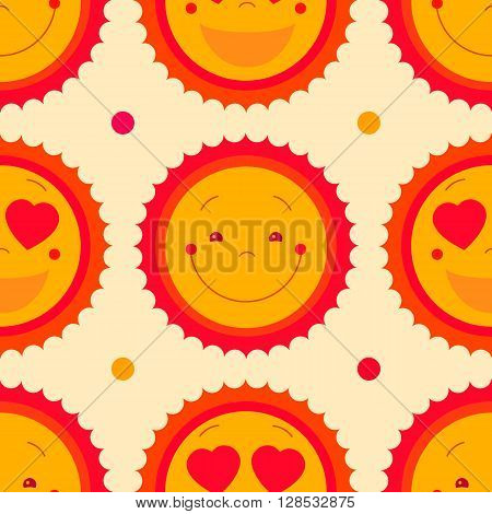 Vector seamless pattern background with happy sun and dots isolated on white background. Sun icons with smiley face, suns with heart eyes emoticons icons. Sun symbols summer repeat texture background