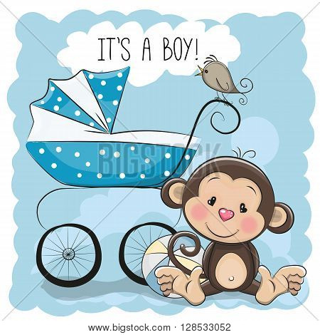 Greeting card its a boy with baby carriage and monkey