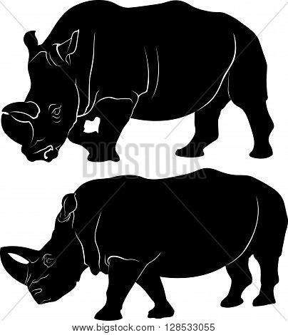 Rhino silhouette vector set of three african