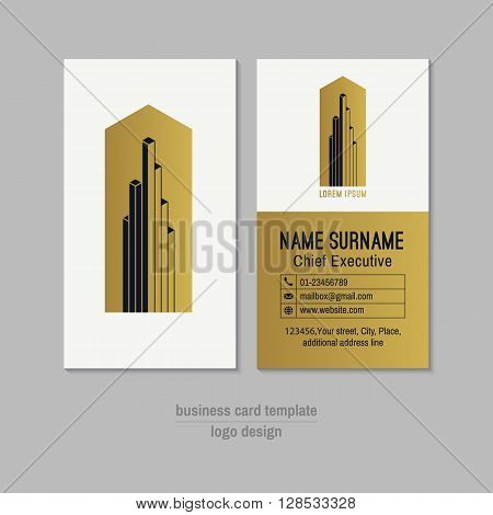 Abstract vertical gold, white and dark blue vector business card template. Visit card layout. Corporate business card . Modern business card with abstract isometric logo and icons