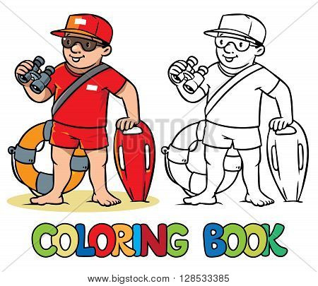 Coloring picture or coloring book of  lifegueard with equipment on the beach. Profession ABC series. Children vector illustration.