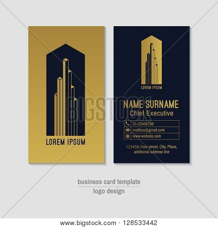 Abstract vertical vector business card design template. Gold and dark blue business card layout. Corporate business card background. Modern visit card with logo and globe phone envelope icons.