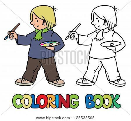 Coloring picture or coloring book of funny artist or painter with paintbrush and palette at the easel.  Profession ABC series. Children vector illustration.