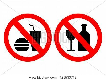 Set of icons forbidding food. Vector illustration.