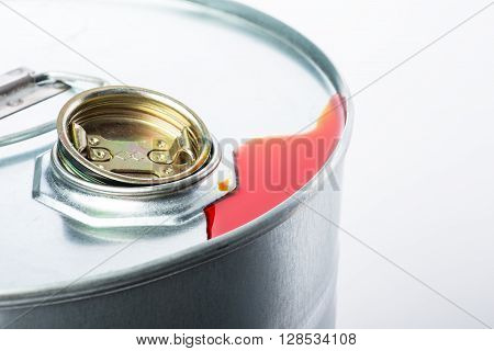 Steel Chemicals Drum With Pollution Liquid Over The White Background
