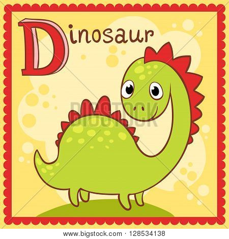 Animal alphabet for the kids. Illustrated alphabet letter D and dinosaur.