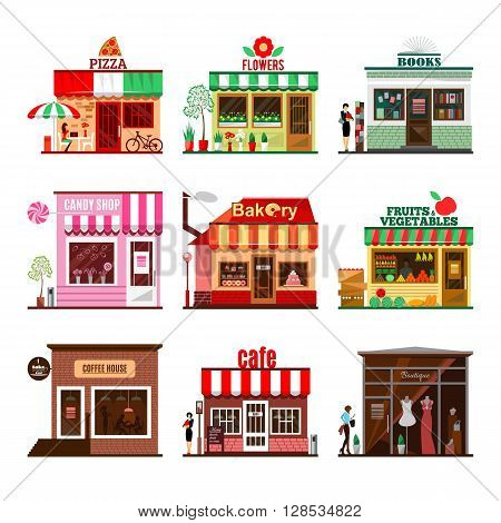 Cool set of detailed flat design city public buildings. Restaurants and shops facade icons. Pizza, flowers, books, candy shop, bakery, fruits and vegetables, coffee house, cafe and boutique.