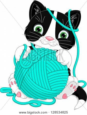 Cheerful kitten playing with yarn ball, EPS 8