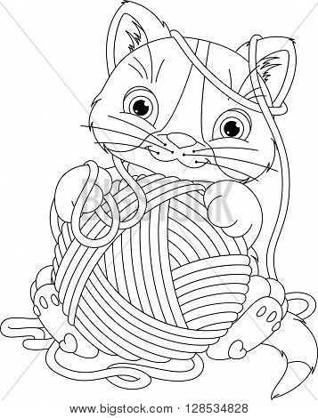 Cheerful kitten playing with yarn ball. Coloring Page