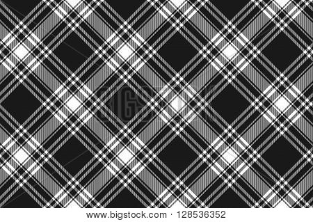 Menzies tartan black kilt diagonal fabric texture seamless pattern .Vector illustration. EPS 10. No transparency. No gradients.