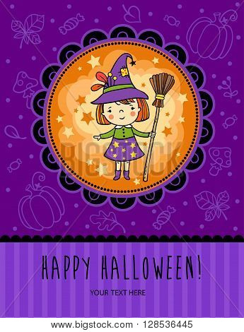 Bright holiday background in vector. Halloween vector card with funny witch.