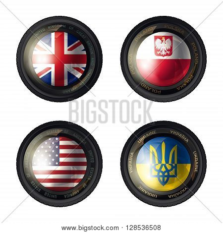 Camera lens with flag. England, Poland, USA and Ukraine flags. Vector illustration
