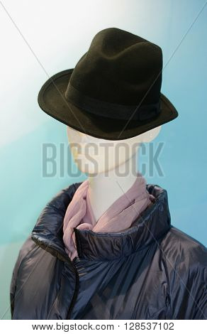Mannequin male in hat, jacket