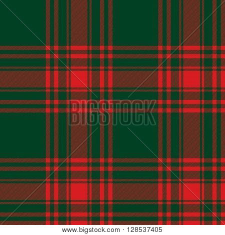 Menzies tartan green red kilt skirt fabric texture seamless pattern.Vector illustration. EPS 10. No transparency. No gradients.