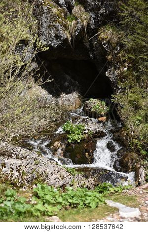 Outside view of a cave entrance with water stream
