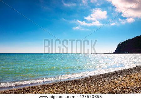 Sunny beach of Black Sea, Russia, close up
