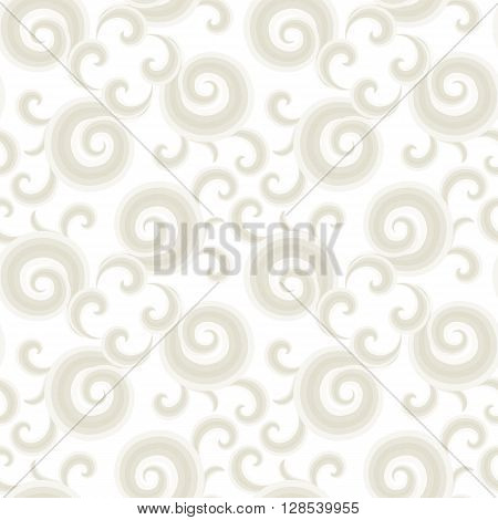 Vector seamless pattern with gold curls and swirls. Nautical texture with waves. Illustration of sky with abstract clouds. Drawn Japanese water graphic. Frost elegant background. Christmas white paper