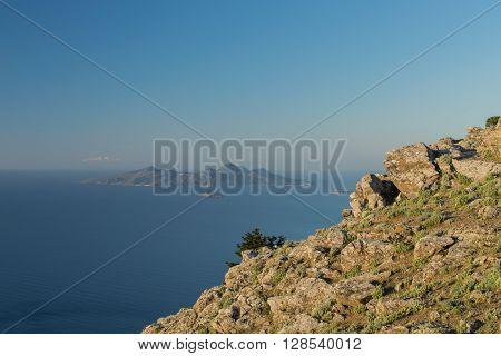 Foreground Kos Island, Background Nisyros Island and Volcano