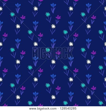 Ditsy spring floral pattern with small hand drawn flowers on dark blue background. Seamless vector vintage texture. Colorful artistic grunge print for spring summer fashion or wedding invitation