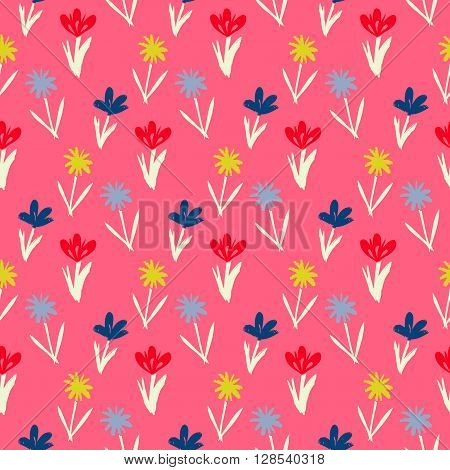 Ditsy spring floral pattern with small hand drawn flowers on pink background. Seamless vector vintage texture. Colorful artistic grunge print for spring summer fashion or wedding invitation