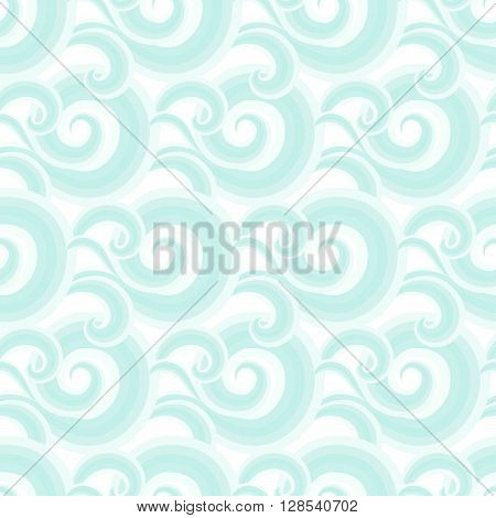 Vector seamless pattern with elegant blue curls and swirls. Nautical texture with waves. Illustration of sky with abstract clouds. Drawn Japanese water graphic. Frost background. Christmas white paper