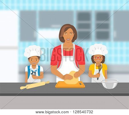 Mother and kids bake together at a kitchen. Mom kneads pastry happy little son and daughter help her. African American family baking home cookies pie or cake. Vector flat illustration.