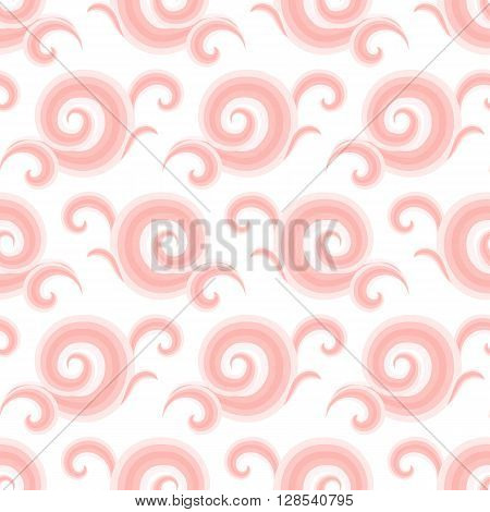 Vector seamless pattern with elegant pink curls and swirls. Nautical texture with waves. Illustration of sky with abstract clouds. Drawn Japanese water graphic. Frost background. Christmas paper