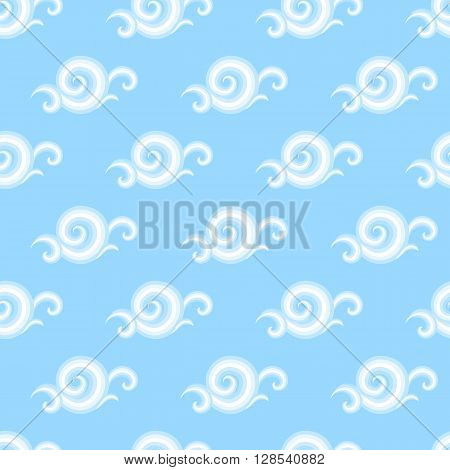 Vector seamless pattern with elegant curls and swirls. Nautical texture with waves. Illustration of sky with abstract clouds. Drawn Japanese water graphic. Frost background. Christmas paper
