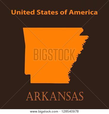 Orange Arkansas map - vector illustration. Simple flat map of Arkansas on a brown background.
