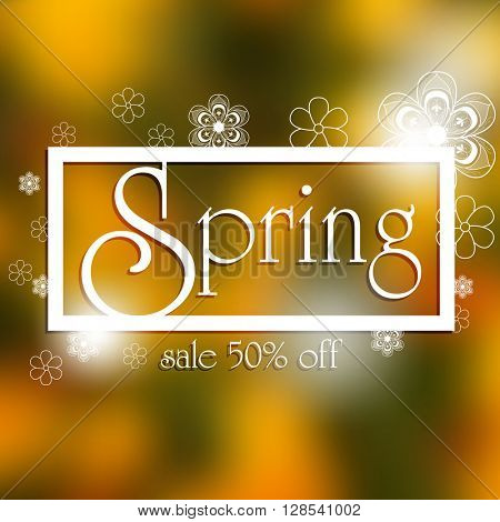 spring sale 50% off, blurred background and white floral mandala concept, eps10 vector