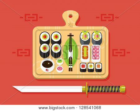 Japanese cuisine. Food traditional, sushi roll and seafood, ingredient nutrition, flat vector illustration