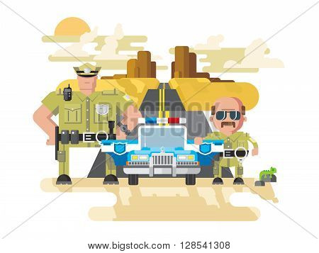 Texas police. Cop officer, law and sheriff, vehicle with siren, security and policeman. Flat vector illustration