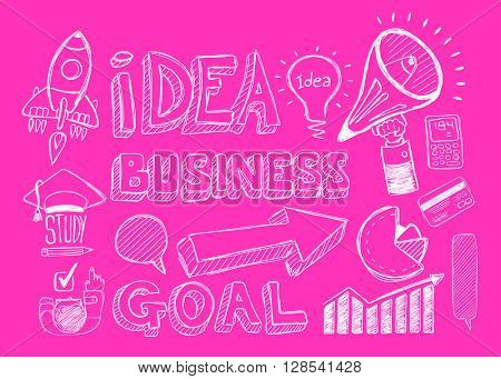 Business doodles Sketch set : infographics elements isolated. It include lots of icons included graphs, stats, devices,laptops, clouds, concepts and so on.